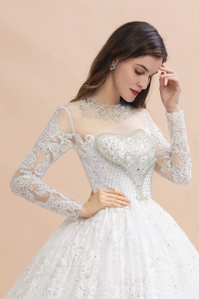 Long Sleeve Lace Crystal Beads Sheer Tulle Wedding Dress_5