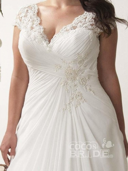 V-neck Cap Sleeves Sweep Train Appliqued Open Back Chiffon Bridal Gown_3