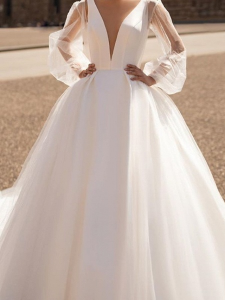 A-Line Wedding Dresses Plunging Neck Court Train Tulle Chiffon Over Satin Long Sleeve Formal Plus Size Illusion Sleeve_3