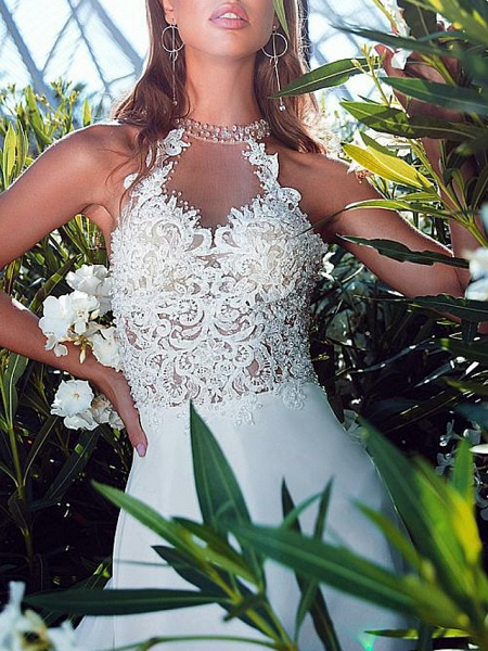 A-Line Wedding Dresses Halter Neck Sweep \ Brush Train Chiffon Strapless Romantic Boho Illusion Detail Backless_4
