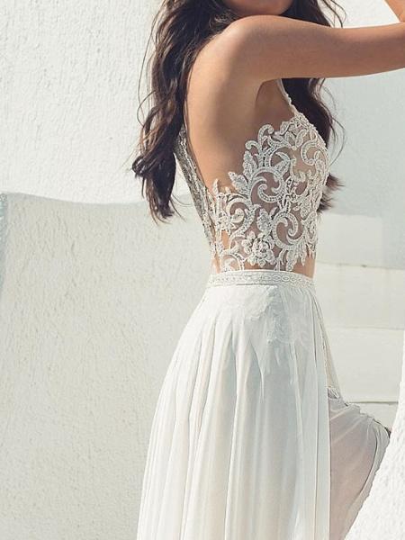 A-Line Wedding Dresses Halter Neck Court Train Lace Chiffon Over Satin Sleeveless Beach Boho Sexy See-Through_3