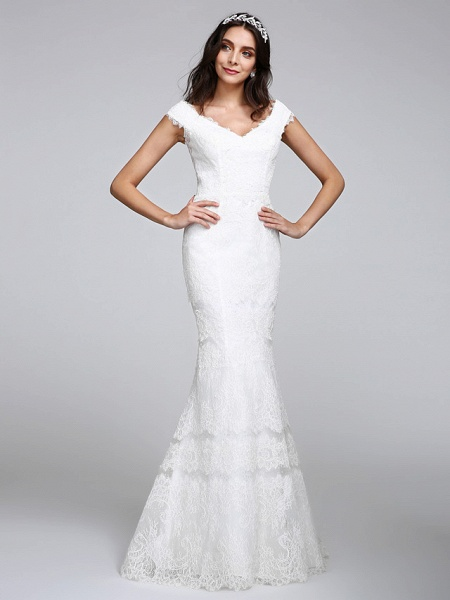 Mermaid \ Trumpet Wedding Dresses V Neck Floor Length All Over Lace Cap Sleeve Romantic Sexy Illusion Detail Backless_3
