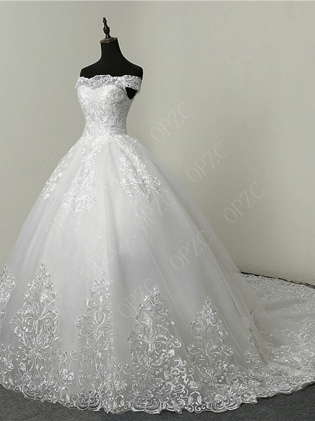 Ball Gown Wedding Dresses Off Shoulder Court Train Tulle Sequined Short Sleeve Glamorous Illusion Detail_4