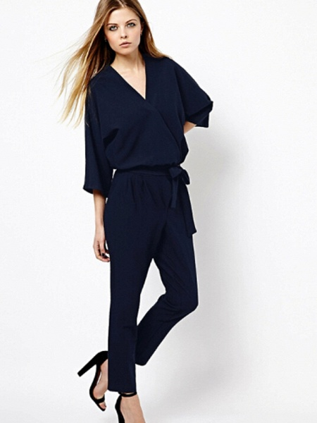 Women's Work Simple Jumpsuit - Solid Colored_2