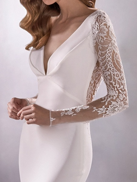 Mermaid \ Trumpet Wedding Dresses Plunging Neck Court Train Polyester Long Sleeve Country Illusion Sleeve_4