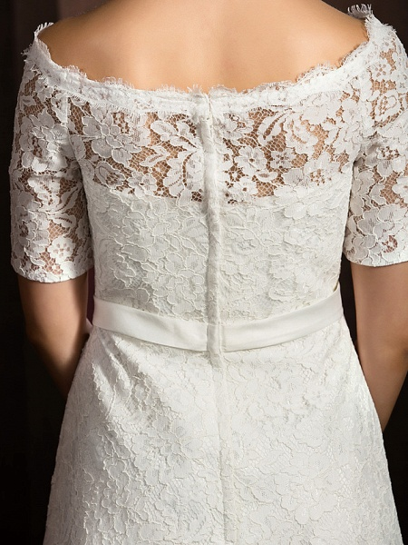 A-Line Wedding Dresses Bateau Neck Knee Length Lace Half Sleeve Formal Casual Little White Dress Illusion Sleeve_5