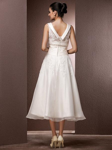 A-Line Wedding Dresses Bateau Neck Tea Length Organza Floral Lace Regular Straps Formal Casual Illusion Detail_4
