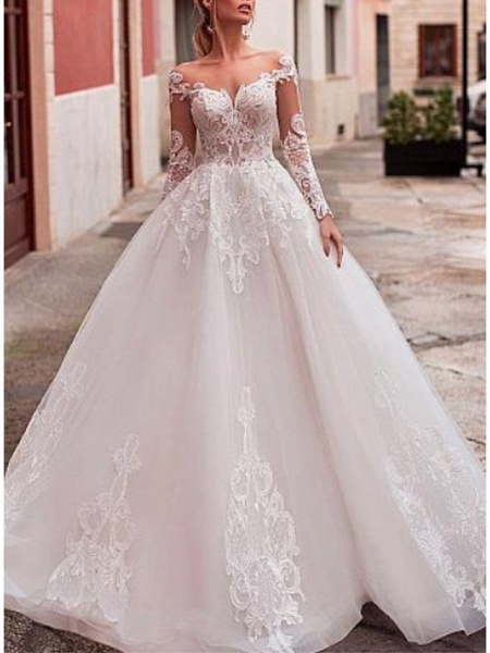 A-Line V Neck Court Train Lace Organza Long Sleeve Romantic See-Through Backless Illusion Sleeve Wedding Dresses_1