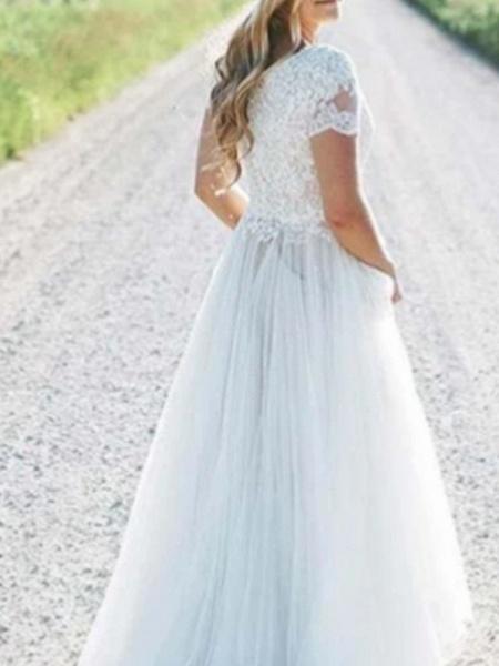 A-Line Wedding Dresses Off Shoulder Floor Length Chiffon Lace Short Sleeve_1
