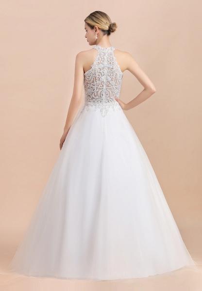 Halter Lace Appliques A-line Sleeveless Wedding Dress_7