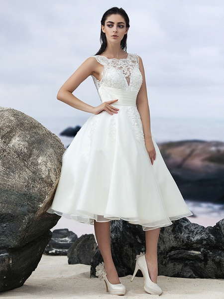 A-Line Wedding Dresses Bateau Neck Knee Length Organza Regular Straps Formal Casual Little White Dress Illusion Detail Backless_1
