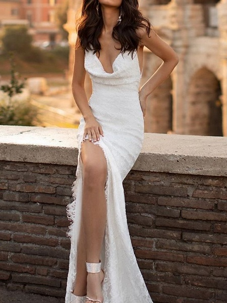 Mermaid \ Trumpet Wedding Dresses Spaghetti Strap Sweep \ Brush Train Lace Satin Sleeveless Simple Sexy Backless_3