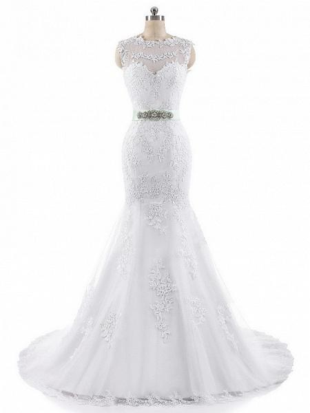 Mermaid \ Trumpet Wedding Dresses Jewel Neck Court Train Lace Tulle Cap Sleeve_4