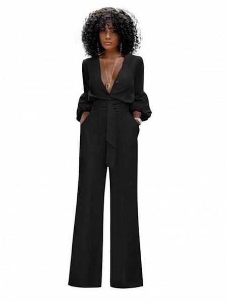 Women's Red Blue Black Wide Leg Slim Romper_4