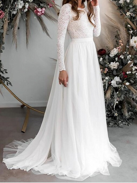 A-Line Wedding Dresses Jewel Neck Floor Length Chiffon Lace Long Sleeve Country Plus Size_2