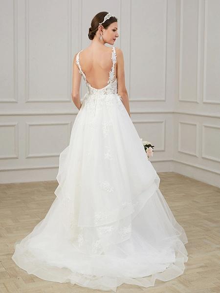 A-Line Wedding Dresses V Neck Sweep \ Brush Train Chiffon Lace Tulle Sleeveless Formal Plus Size_2