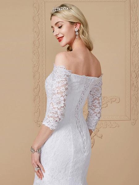 Mermaid \ Trumpet Wedding Dresses Off Shoulder Court Train Lace Sequined 3\4 Length Sleeve Romantic Plus Size Illusion Sleeve_5