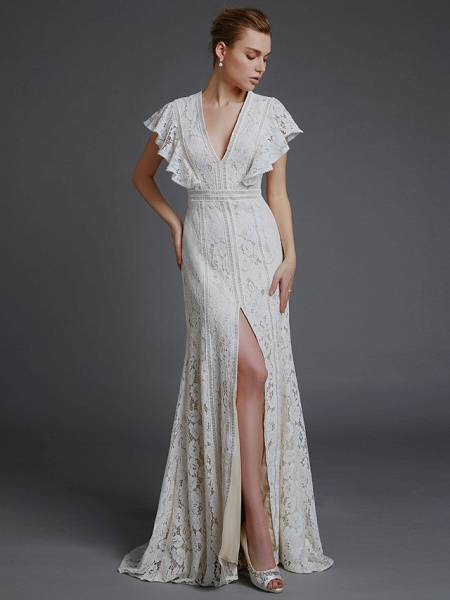 A-Line V Neck Sweep \ Brush Train Lace Sleeveless Boho Wedding Dresses_1