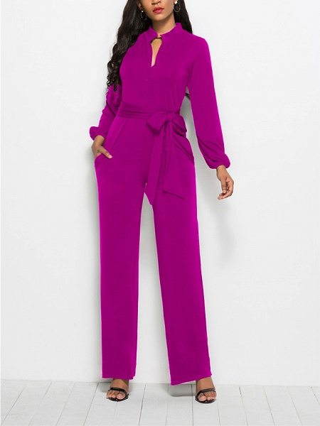Women's Ordinary \ Business Wine Black Red Jumpsuit_6