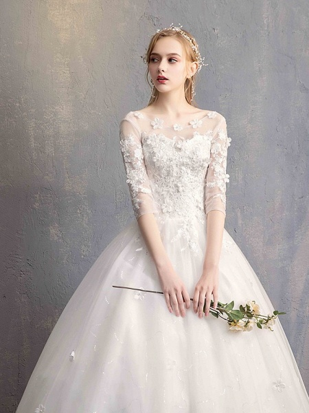 Ball Gown Wedding Dresses Scoop Neck Floor Length Lace Tulle Lace Over Satin Half Sleeve Country Vintage Illusion Sleeve_7