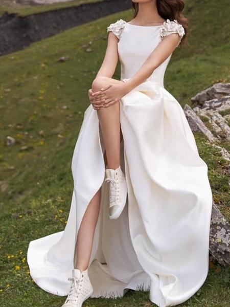 A-Line Wedding Dresses Jewel Neck Sweep \ Brush Train Satin Cap Sleeve Simple_2