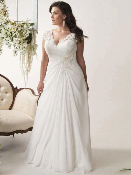 V-neck Cap Sleeves Sweep Train Appliqued Open Back Chiffon Bridal Gown
