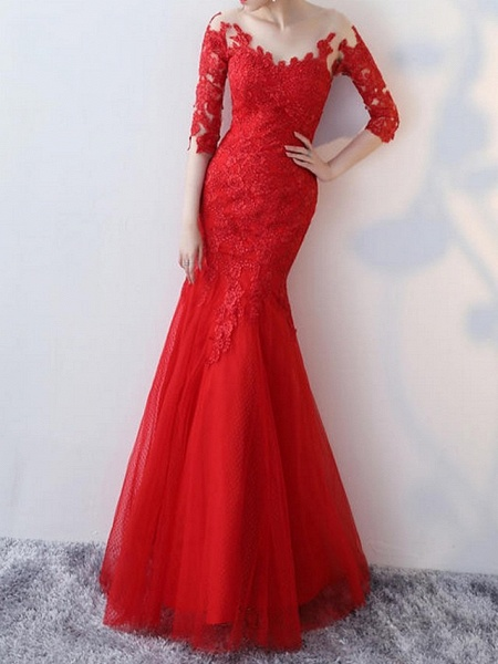 Mermaid \ Trumpet Wedding Dresses Jewel Neck Floor Length Lace Half Sleeve Formal Red_2