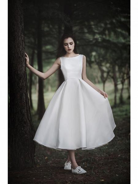 A-Line Wedding Dresses Jewel Neck Tea Length Chiffon Over Satin Cap Sleeve Simple Casual Little White Dress_4