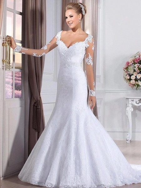 Mermaid \ Trumpet Wedding Dresses Sweetheart Neckline Court Train Lace Tulle Lace Over Satin Long Sleeve Sexy Backless Illusion Sleeve_2