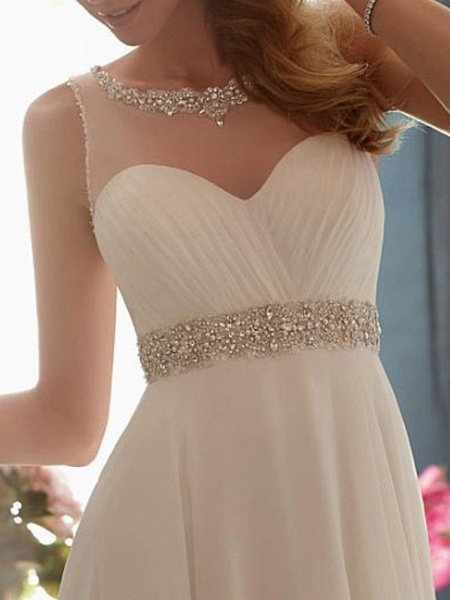 A-Line Wedding Dresses Jewel Neck Sweep \ Brush Train Chiffon Tulle Sleeveless Simple Beach See-Through Backless_2