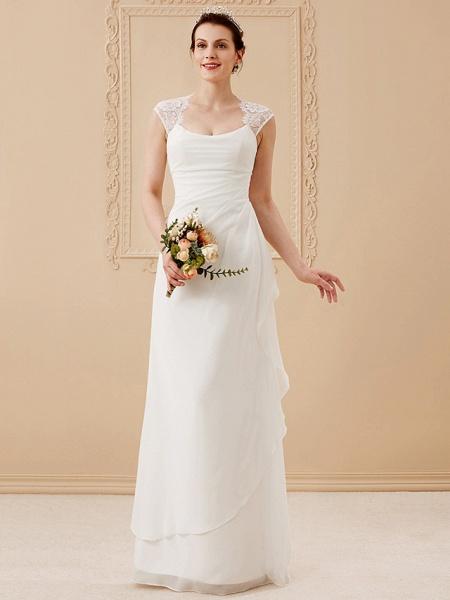 Sheath \ Column Wedding Dresses Square Neck Floor Length Chiffon Lace Cap Sleeve Simple Illusion Detail_1