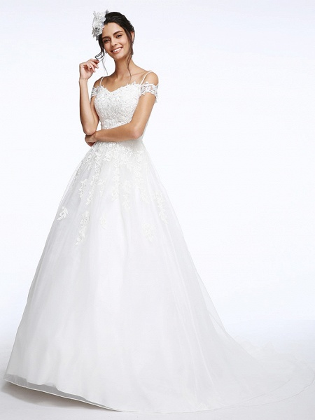 Ball Gown Wedding Dresses Off Shoulder Court Train Organza Beaded Lace Short Sleeve_5