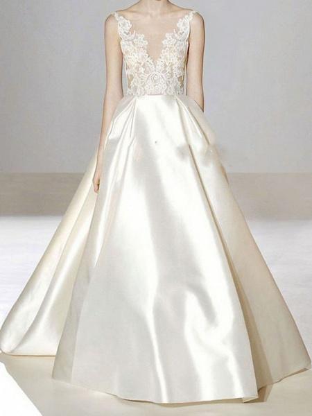 A-Line V Neck Sweep \ Brush Train Lace Tulle Regular Straps Formal Plus Size Wedding Dresses_1