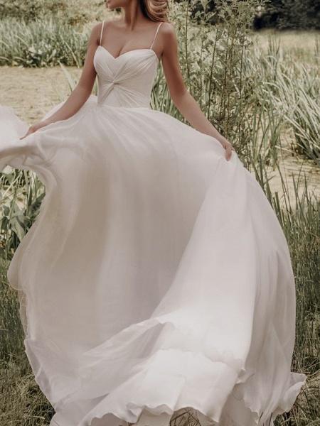 A-Line Wedding Dresses Spaghetti Strap Sweep \ Brush Train Silk Chiffon Over Satin Sleeveless Simple Beach_1