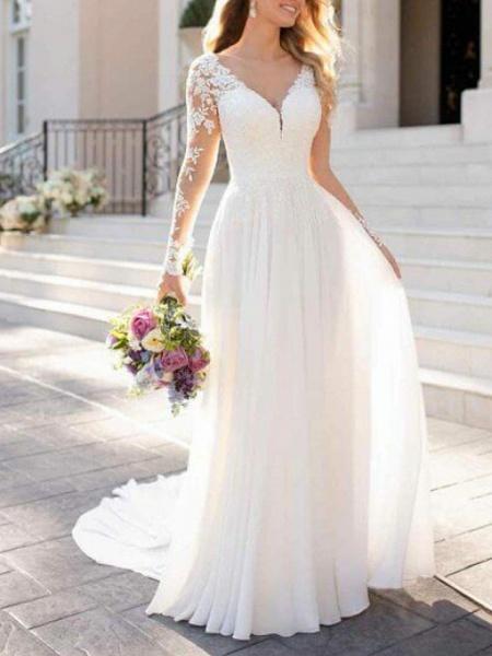 A-Line Wedding Dresses V Neck Sweep \ Brush Train Chiffon Lace Long Sleeve Romantic Illusion Sleeve_2