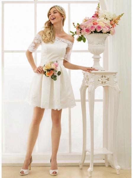 A-Line Wedding Dresses Off Shoulder Short \ Mini Satin Half Sleeve Formal Casual Illusion Detail_4