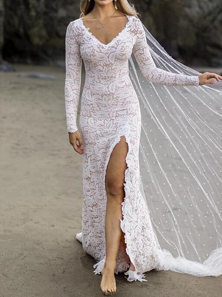 Mermaid \ Trumpet Wedding Dresses V Neck Sweep \ Brush Train Lace Satin Long Sleeve Country Plus Size_1