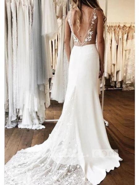 A-Line Wedding Dresses V Neck Court Train Charmeuse Regular Straps_2