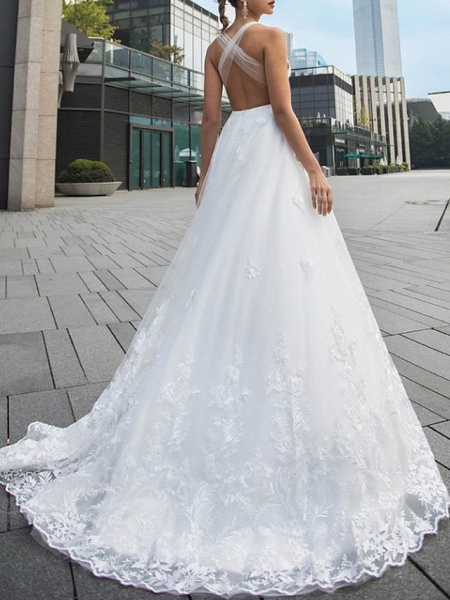 A-Line Wedding Dresses V Neck Sweep \ Brush Train Lace Tulle Sleeveless Beach Sexy Backless_2