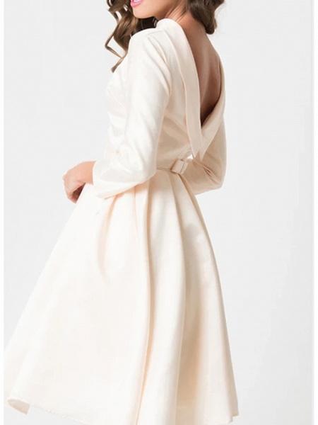 A-Line Wedding Dresses Jewel Neck Knee Length Charmeuse 3\4 Length Sleeve Vintage Little White Dress 1950s Cute_2