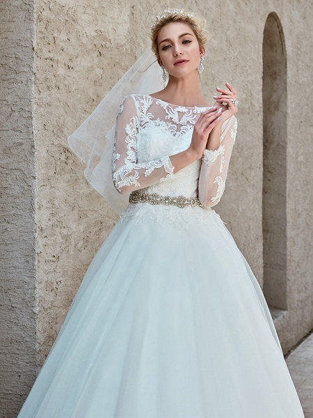 Ball Gown Wedding Dresses Bateau Neck Chapel Train Lace Tulle Long Sleeve Beautiful Back Illusion Sleeve_13