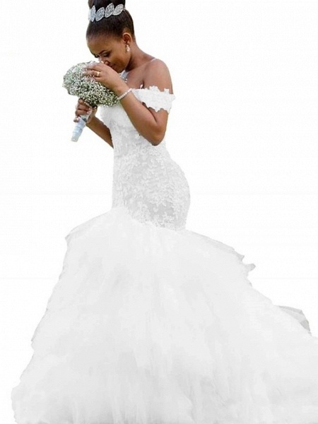 Mermaid \ Trumpet Wedding Dresses Off Shoulder Chapel Train Lace Tulle Lace Over Satin Short Sleeve Sexy_2