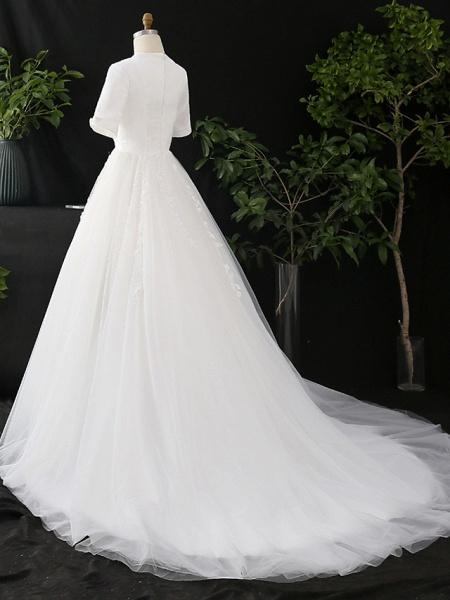 A-Line V Neck Court Train Satin Tulle Half Sleeve Simple Elegant Wedding Dresses_4