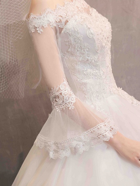 Ball Gown Wedding Dresses Off Shoulder Floor Length Lace Tulle Long Sleeve Romantic Illusion Sleeve_10