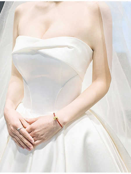A-Line Wedding Dresses Strapless Cathedral Train Chiffon Strapless_6
