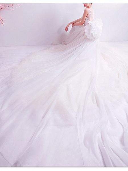 A-Line Wedding Dresses Jewel Neck Watteau Train Chiffon Tulle Sleeveless Formal Illusion Detail Plus Size_2