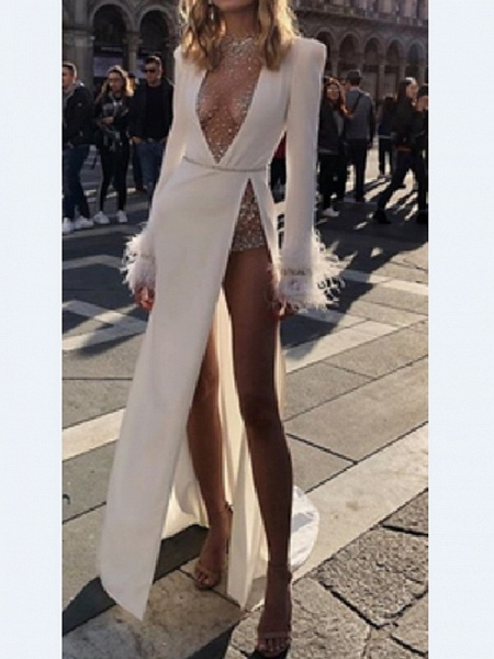 Two Piece Wedding Dresses High Neck Plunging Neck Floor Length Polyester Long Sleeve Sexy Plus Size_4