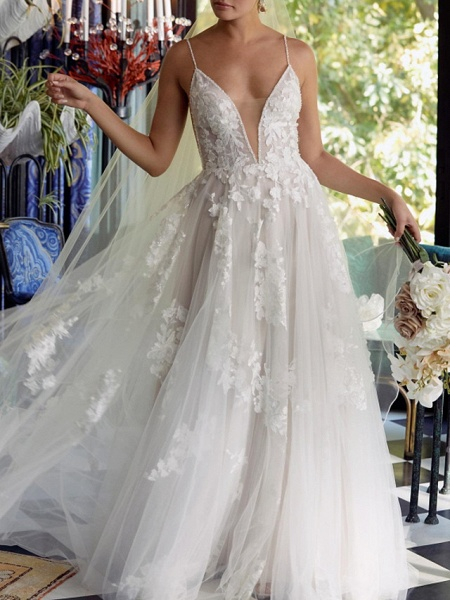 A-Line Plunging Neck Sweep \ Brush Train Tulle Polyester Sleeveless Boho Plus Size Wedding Dresses_2