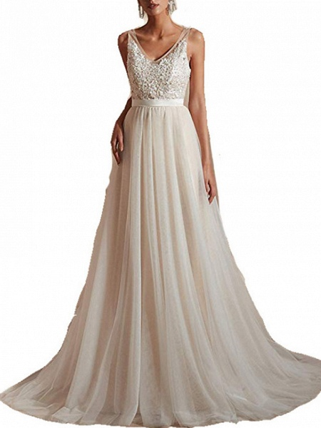 A-Line Wedding Dresses V Neck Sweep \ Brush Train Tulle Regular Straps_2