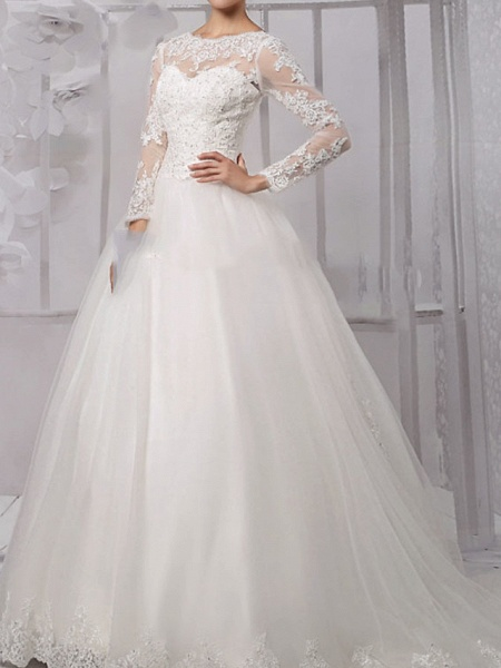 Ball Gown Wedding Dresses Jewel Neck Sweep \ Brush Train Lace Tulle Long Sleeve Formal_1